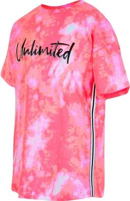 River Island Girls Pink 'Unlimited' print tie dye T-shirt