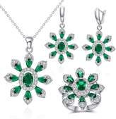 Jiangyue Women Jewelry Sets Cubic Zirconia Rhodium Plated Big Flower Earring Necklace Rings Size 8