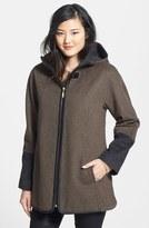 Ellen Tracy Women's Faux Leather Trim Duffle Coat