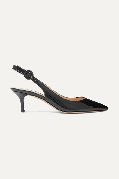Gianvito Rossi Anna 55 Patent-leather Slingback Pumps - Black