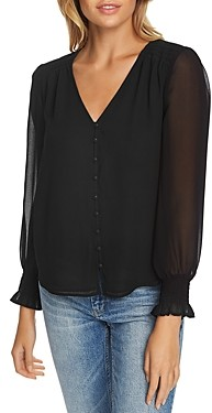1 STATE 1.state Smocked Button-Front Blouse