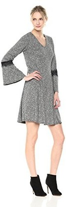 Robbie Bee Women's Long Sleeve fit and Flare Dress