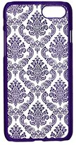 Iphone 7 case,LAIMENG Carved Damask Vintage Pattern Matte Hard Case Cover For iPhone 7 4.7inch (Purple)