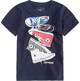 Converse Boys' Chucks Stacked T-Shirt, Navy
