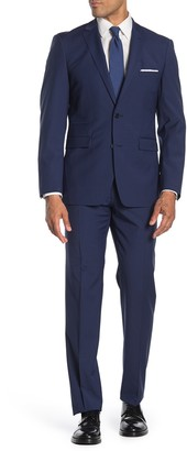 Vince Camuto Navy Solid Two Button Notch Lapel Slim Fit Suit