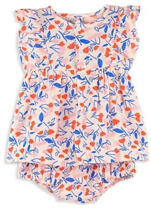 Petit Bateau Baby Girl's Floral Cotton Dress & Bloomers Set