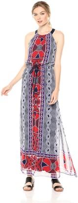 Nine West Women's Sleeveless Maxi Dress with Drawstring & Gathered Neck
