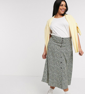 Asos DESIGN Curve pleat front high waisted button through midi skirt in ditsy floral print