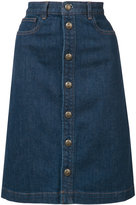 A.P.C. stonewashed denim skirt - women - Cotton/Polyurethane - 34