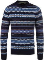 Barbour Navy Caistown Fairisle Crew Neck Sweater