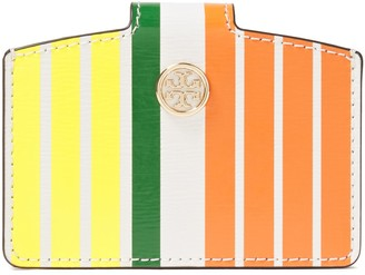 Tory Burch Striped Patent-leather Cardholder