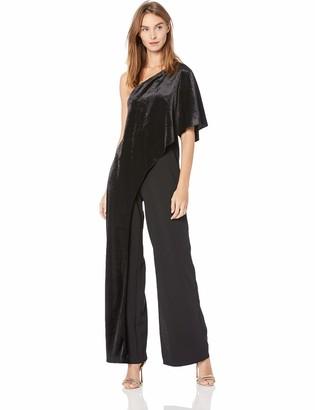 Adrianna Papell Women's One Shoulder Bodice Wide Leg Velvet Jumpsuit