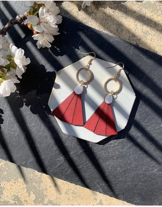 Mother of Pearl Xander Kostroma Wooden Triangle and Drop Earrings