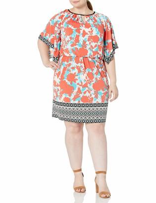 London Times Women's Plus-Size Printed Jersey Blouson