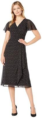 Lauren Ralph Lauren Printed Georgette Ezra Short Sleeve Day Dress (Black/Colonial Cream) Women's Clothing