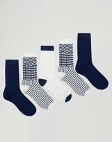 Asos Socks With Geo-Tribal Design 5 Pack