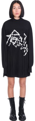 Palm Angels Fringed Over Dress In Black Cotton