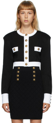 Balmain Black and White Buttoned Short Jacket