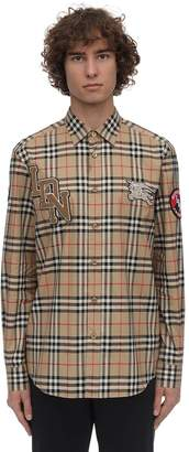 Burberry CHECK PRINT POPLIN COMBE SHIRT W/PATCHES