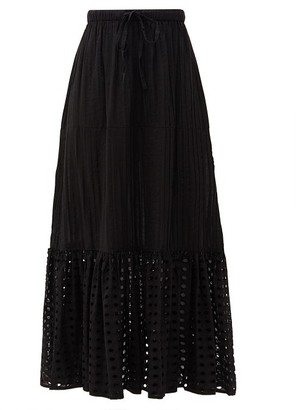Solid & Striped The Addison Embroidered-eyelet Cotton Skirt - Black