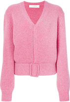 Victoria Beckham buckled hem V-neck jumper