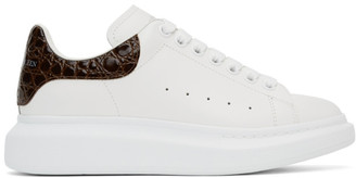 Alexander McQueen White and Brown Croc Oversized Sneakers