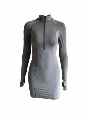 CORAFRITZ Women's Bodycon Mini Dress Long Sleeve Zipper Dress Club Dress Mock Neck Thumb Hole Slim Fit Pencil Dress Purple