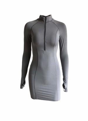 FOBEXISS Women's Bodycon Mini Dress Long Sleeve Zipper Dress Club Dress Mock Neck Thumb Hole Slim Fit Pencil Dress White