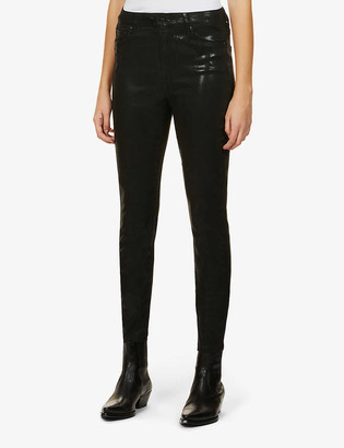 AllSaints Alex coated skinny mid-rise stretch-woven jeans