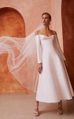 Rasario Bridal Cold-Shoulder Silk Midi Dress