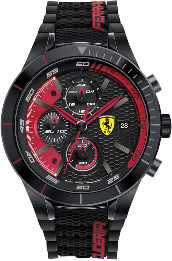 Ferrari Men's Chronograph RedRev Evo Black Silicone Strap Watch 46mm 830260