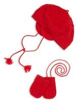 Ralph Lauren Baby's Two-Piece Cable-Knit Beret & Mittens Set