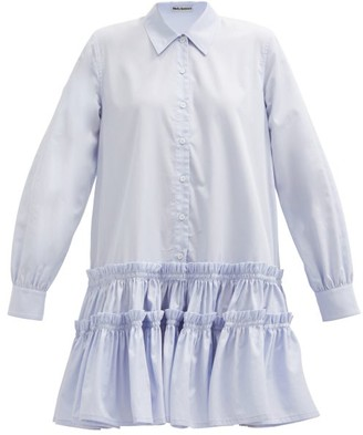 Molly Goddard Ithaca Frilled Cotton-gabardine Shirt Dress - Light Blue