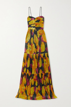 Rebecca Vallance Astoria Tiered Printed Metallic Knitted Maxi Dress - Black