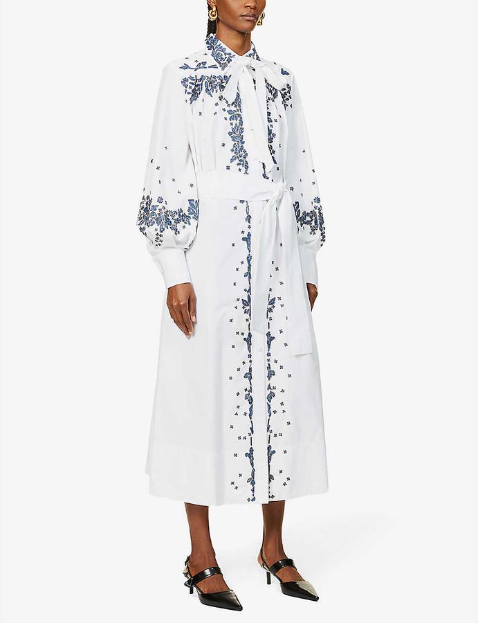 Valentino Floral-print cotton shirt maxi dress