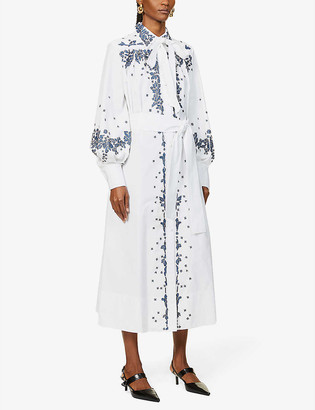 Valentino Floral-print cotton shirt maxi dress
