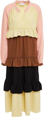 Hofmann Copenhagen Jeanne Tiered Color-block Crepe Midi Dress