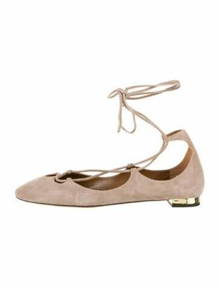 Aquazzura Suede Lace-Up Ballet Flats gold