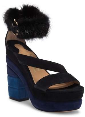 Salvatore Ferragamo Lev Genuine Mink Fur Trim Suede Block Heel Sandal