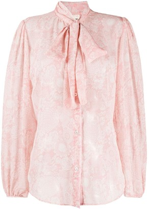 Semi-Couture Pussy-Bow Embroidered Shirt