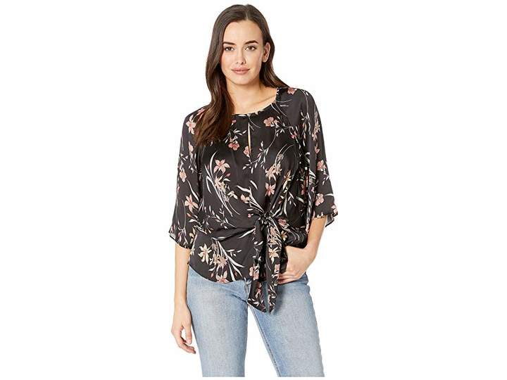Vince Camuto Bell Sleeve Tie Front Floral Soiree Keyhole Blouse