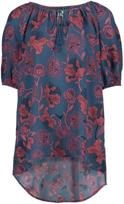 Très Jolie Women's Blouses Foulard - Dusty Teal & Red Floral Foulard Tie-Neck Tunic - Women