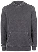 Topman Dark Gray Burnout Wash Hoodie