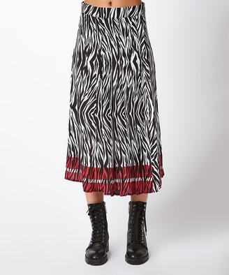Milan Kiss Women's Casual Skirts BLACK-RED - Black & Red Zebra Pleated Midi Skirt - Women