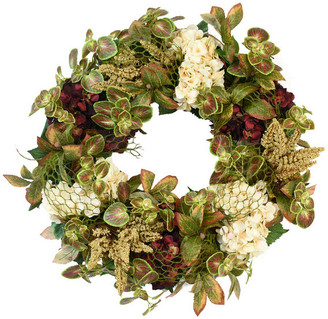 Laurèl Creative Displays Fall Wreath with Hydrangea, Heather, Mint and Leaves.