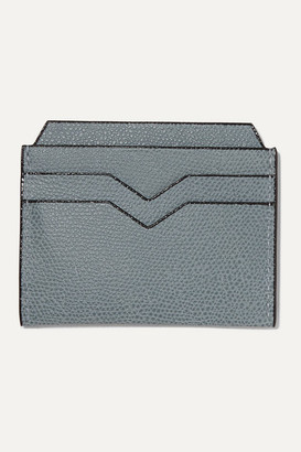Valextra Textured-leather Cardholder - Blue