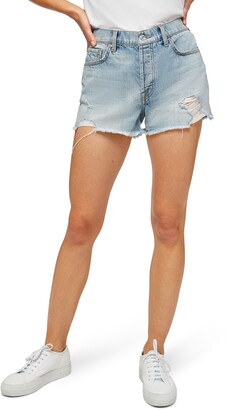 7 For All Mankind Distressed Monroe High Waist Cutoff Denim Shorts