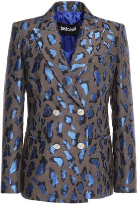 Just Cavalli Metallic Cotton-blend Leopard-jacquard Blazer