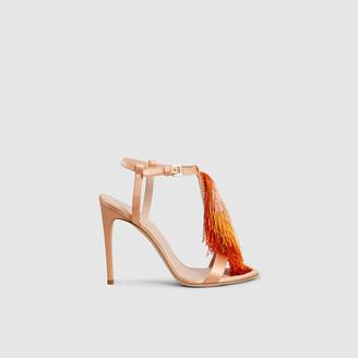 Alberta Ferretti Orange Fringed Satin High-Heel Sandals Size IT 35