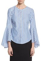 Milly Ruthie Bell-Sleeve Striped Stretch-Poplin Blouse, Blue
